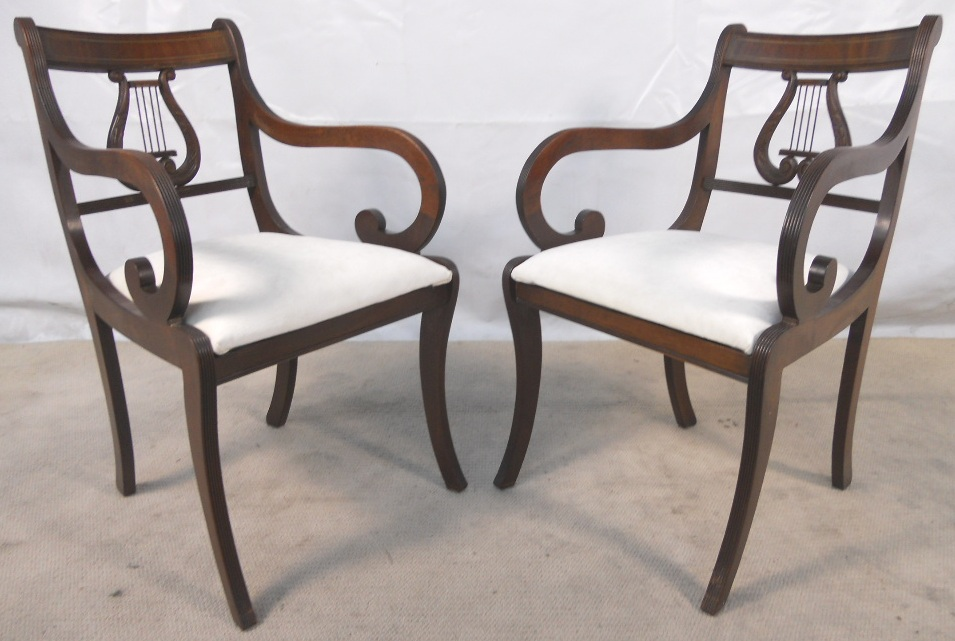 Nice SOLD   Set Of Six Antique Regency Style Mahogany Harp Back Dining Chairs